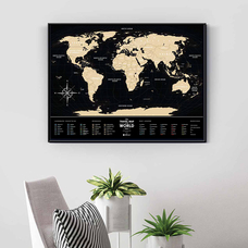 World scratch map Travel Map, Black