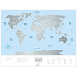 Plastic scratch map of the world Travel Map, Silver
