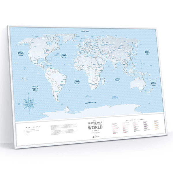 Plastic scratch map of the world Travel Map Silver, framed