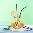 Set of straws for drinks (4 pcs.), Metallic