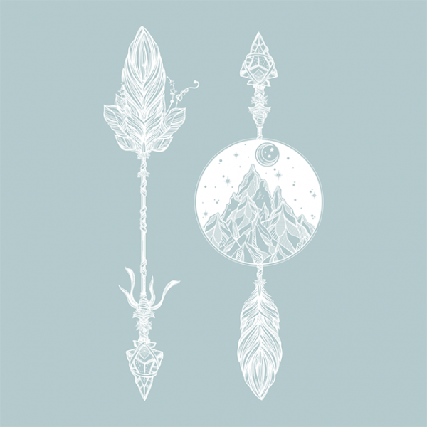 """Temporary tattoo """"Arrows, mountains and the moon"""", 15 cm"""