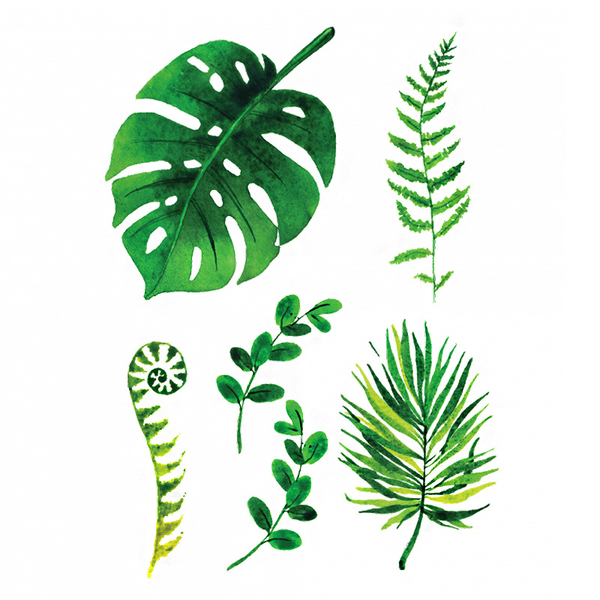 "Set of temporary tattoos ""Green Leaves"""
