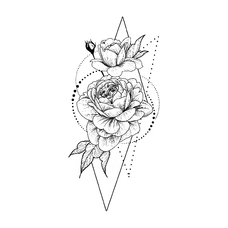 "Temporary tattoo ""Rose in geometry"""