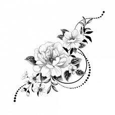 "Temporary tattoo ""Graphic flowers"""