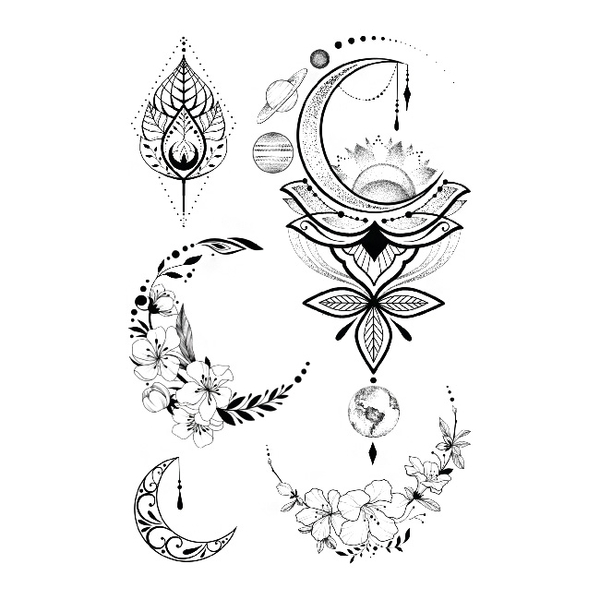 """Set of temporary tattoos """"Flowers and Space"""""""