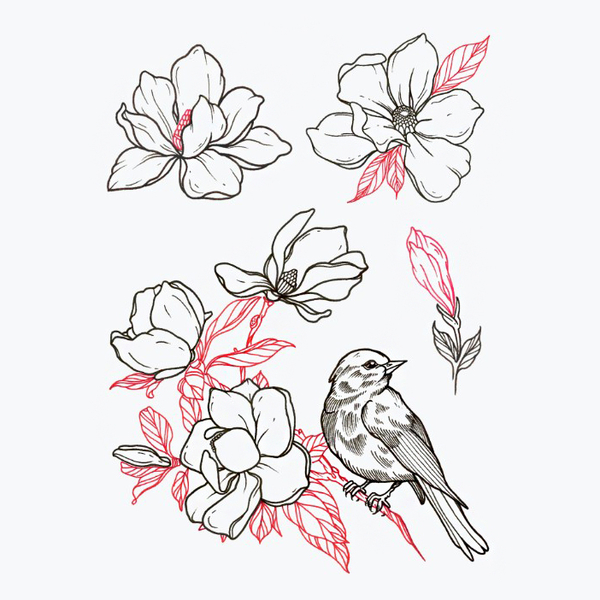 "Temporary tattoos set ""Magnolia"""