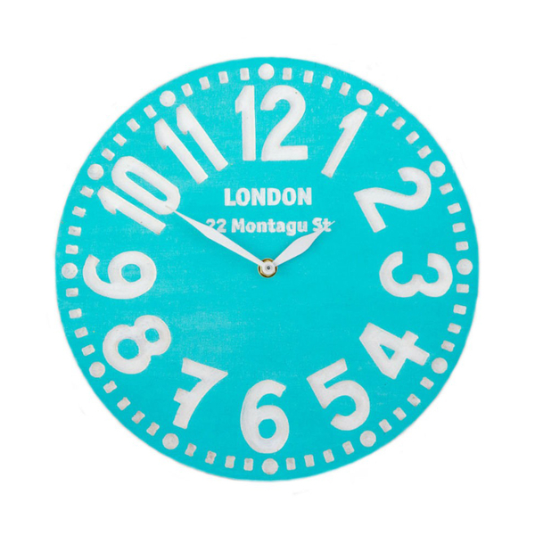 """Wooden clock """"London"""",  turquoise"""