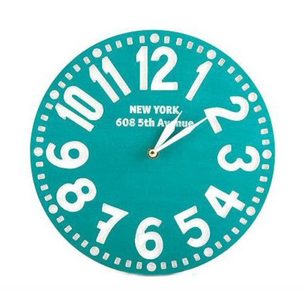 "Wooden clock ""New York"", turquoise"