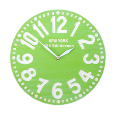 "Wooden clock ""New York"", green"