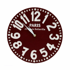 "Wooden clock ""Paris"", burgundy"
