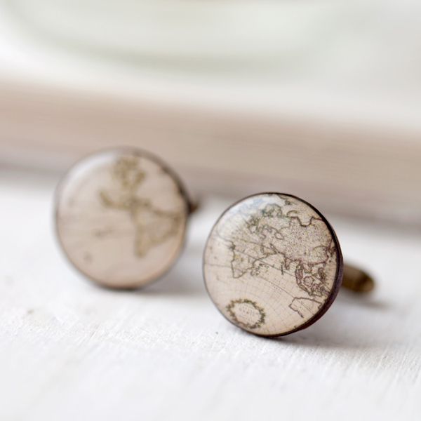 "Cufflinks ""Map of the World"""