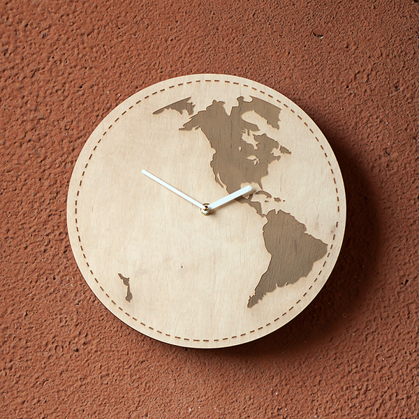 "Wooden clock ""Earth"""