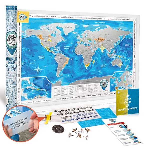 Scratch-Off World Map - Discovery Map, Silver