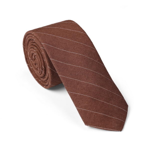 "Tie ""Brown with white stripes"""