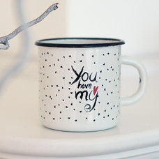 "Enamel mug ""You have my heart"""