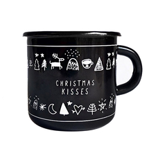 Enamel Mug Christmas Kisses, Black
