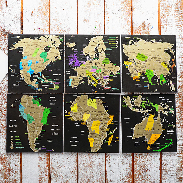 Set of scratch postcards «Map of the World»