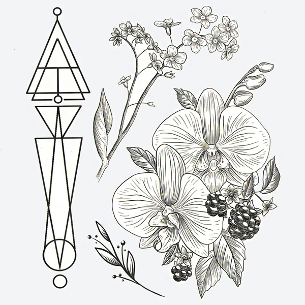"Set of temporary tattoos ""Orchid"""