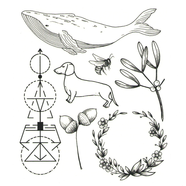 "Set of temporary tattoos ""Whale"""