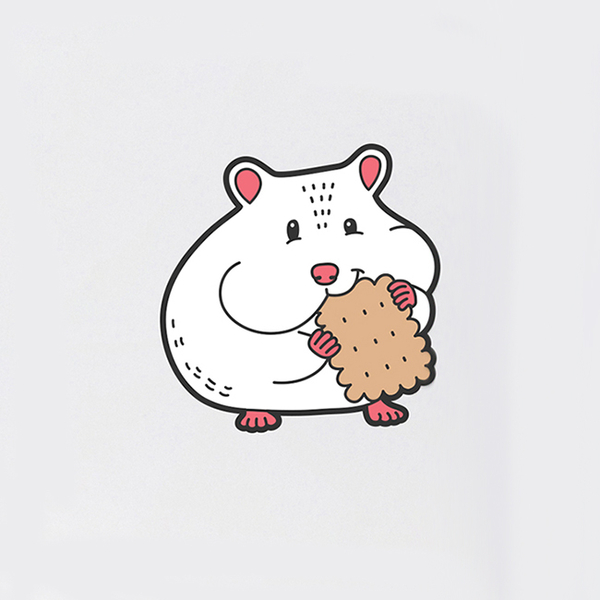 """Badge """"Hamster with cookies"""""""