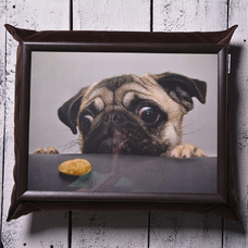 "Tray with a pillow ""Pug"""