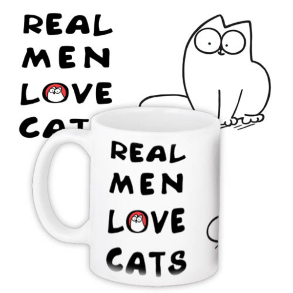 "Mug ""Real men love cats"""