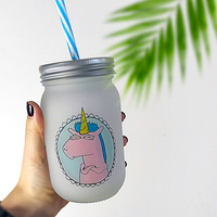 "Jar with a straw ""Unicorn"""