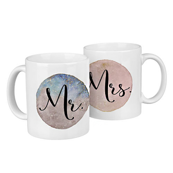 """Paired mugs """"Mr and Mrs"""""""