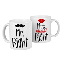"Paired  mugs ""Mr and Mrs Right"""