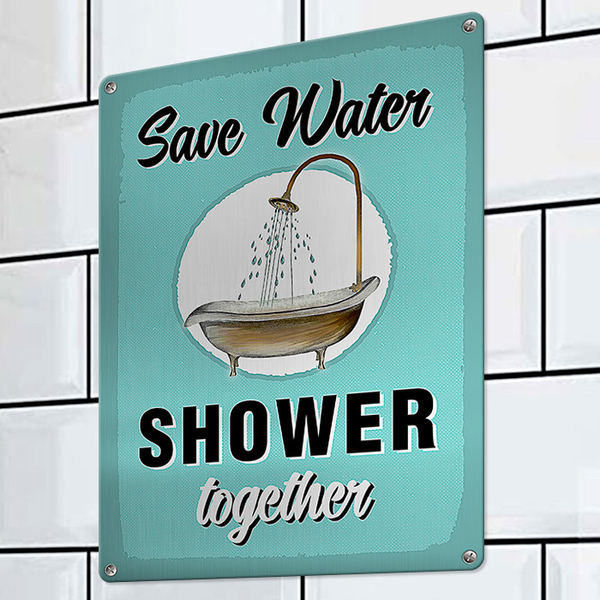 """Wall metal sign """"Save water"""""""
