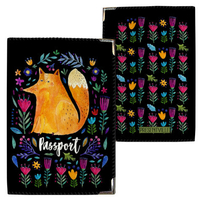 "Passport cover ""Fox and flowers"""
