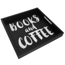 """Tray with handles """"Books and coffee"""""""