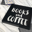 "Tray with handles ""Books and coffee"""