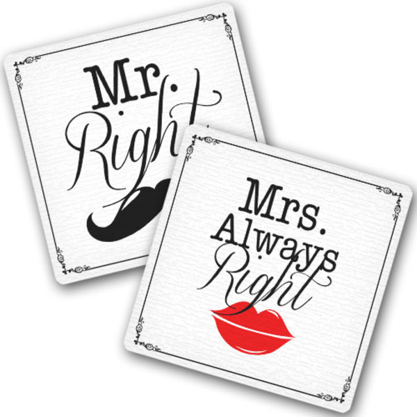 "Hot coasters ""Mr. and Mrs."""