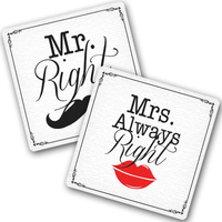 """Hot coasters """"Mr. and Mrs."""""""
