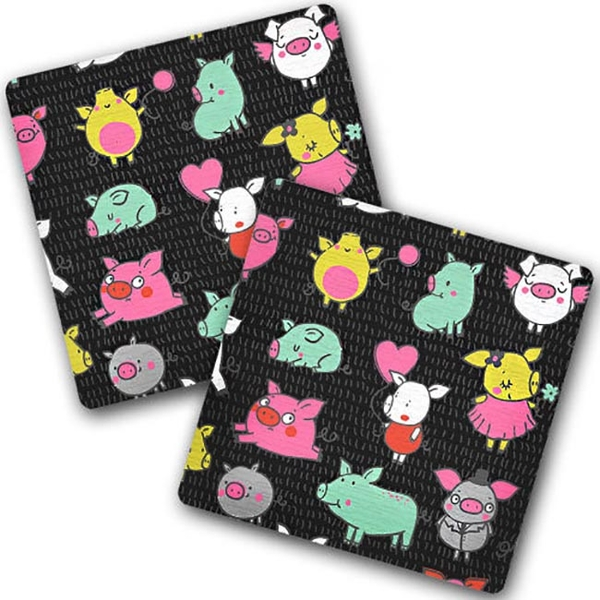 "Hot coasters ""Multi-colored oink"""