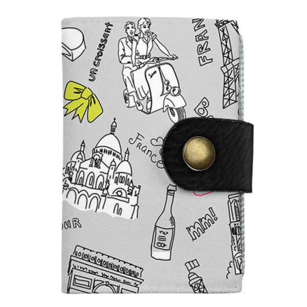 """Cardholder with push button """"Travel to Paris"""""""