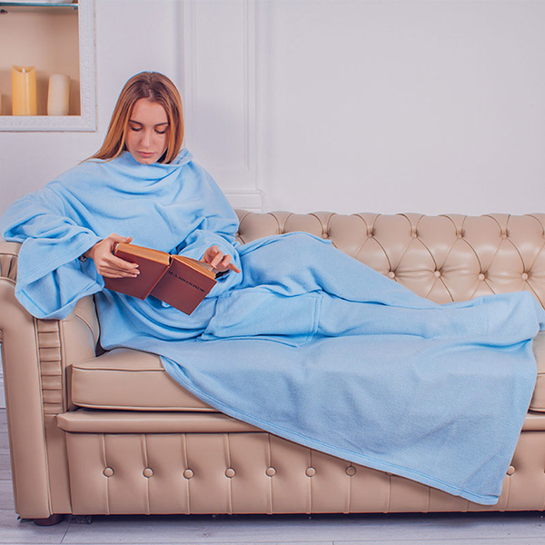 Blanket with sleeves made from fleece, light blue