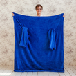 Blanket with sleeves made from microfiber, blue