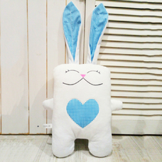 "Handmade toy ""Hare in love"", white-blue"