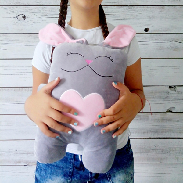 """Handmade toy """"Hare in love"""", gray-pink"""