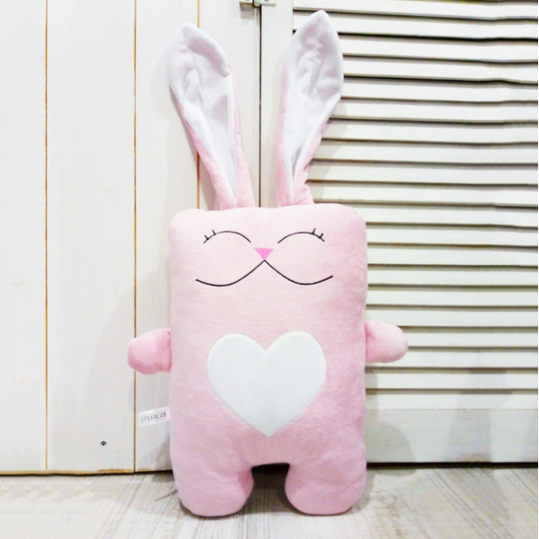 "Handmade toy ""Hare in love"", pink-white"
