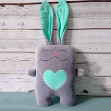 "Handmade toy ""Hare in love"", mint grey"