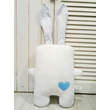 """Handmade toy """"Hare in love"""", white-blue"""