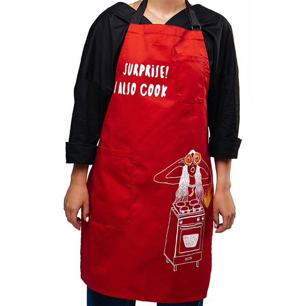 """Apron """"Surprise! I Also Cook"""", red"""