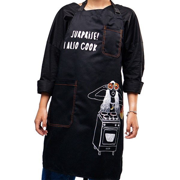 "Apron ""Surprise! I Also Cook"", black"