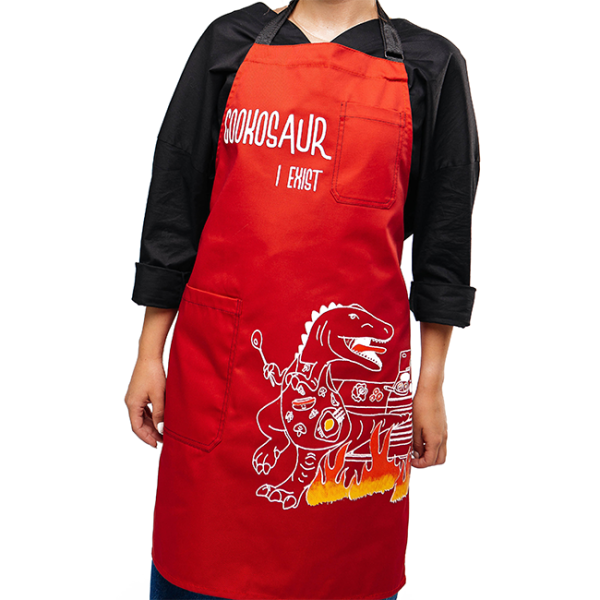 "Apron ""Cookosaur"", red"