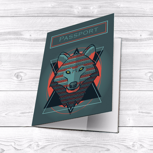 "Passport cover ""Wolf"""