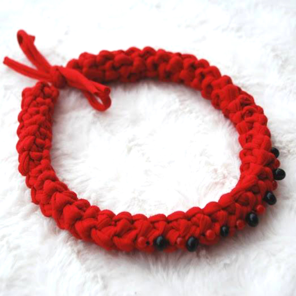 """Necklace from knitted yarn """"Viburnum"""""""