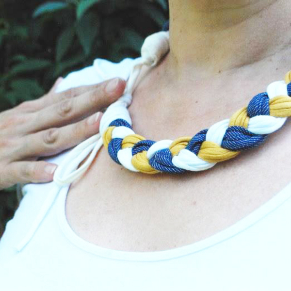 """Necklace of knitted yarn """"Little braid"""""""